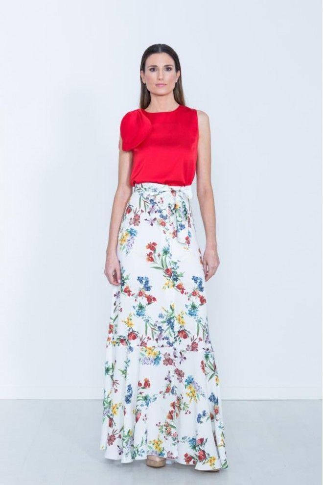fa47b38ef Falda larga estampada con lazo CAYRO | moda | Faldas estampadas ...