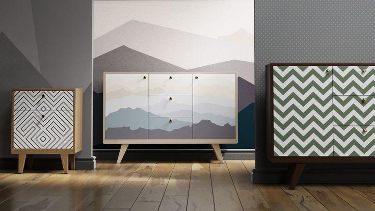 комоды и прикроватная тумбочка с горами, зигзагами и геометрическими линиями. Отлично подойдёт для спальни и гостиной  #комод #thimon #мебель #interior #интерьер #furniture #горы #mountains #idea #bedroom