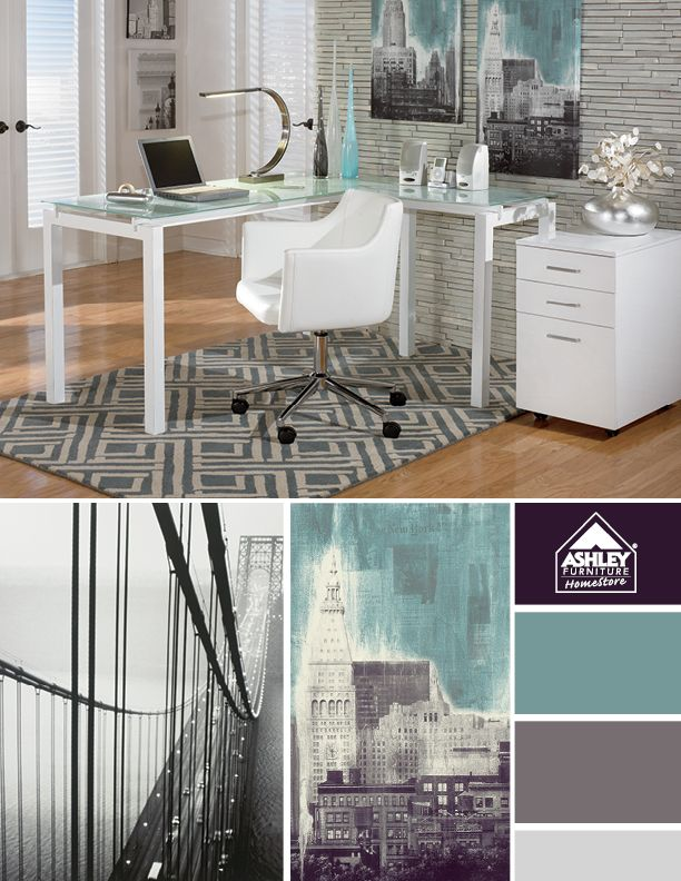 Try Incorporating White Furniture And City Inspired Art For A Modern Officeu2026