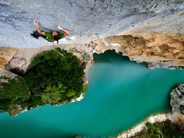 Climbing in the Verdon Gorge, France.  Photograph by Keith Ladzinski.