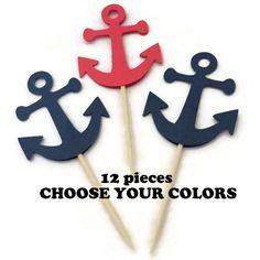 anchor cupcake toppers nautical baby shower decorations custom colors birthday party food picks set of 12 #NauticalBabyShower anchor party decor cupcake toppers nautical baby shower pirate party supply cupcake decorations navy anchors kids birthday party boating food picks sailing cakes ships ahoy bon voyage travel theme wedding supplies 4.00 USD PartyParts