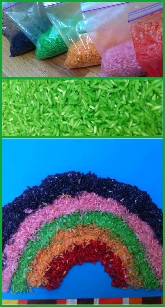Mooie decoratieve regenboog met gekleurde rijst en lijm