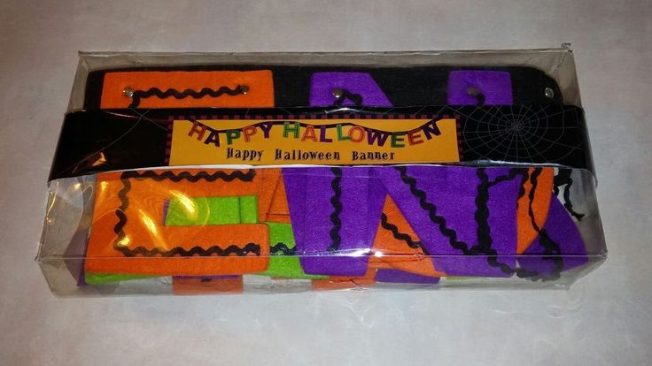 "Happy Halloween Banner 89"" Felt String New in Package Orange Black Green Purple  #LucerneNorthAmerica"