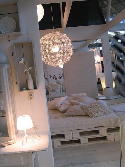 Perfect for the guess room! Pallets with the mattress on top. simple and perfect.