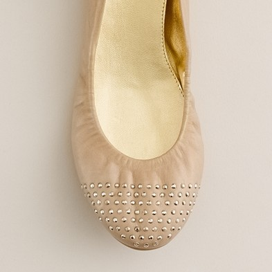 Studded ballet flat at J. Crew / #shoes #nude #leather