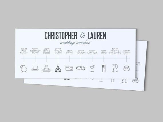 Day of the Wedding Timeline - Customizable Printable PDF
