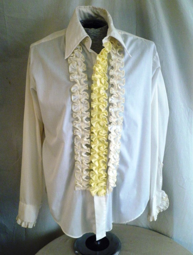 1970's Tux Shirt Man's Ruffled Tux Shirt Prom Large 16 1/2 34 by rue23vintage on Etsy