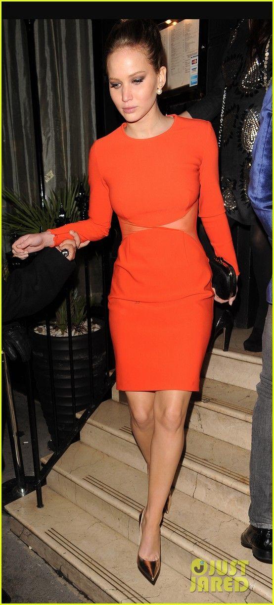 the gallery for gt jennifer lawrence orange dress