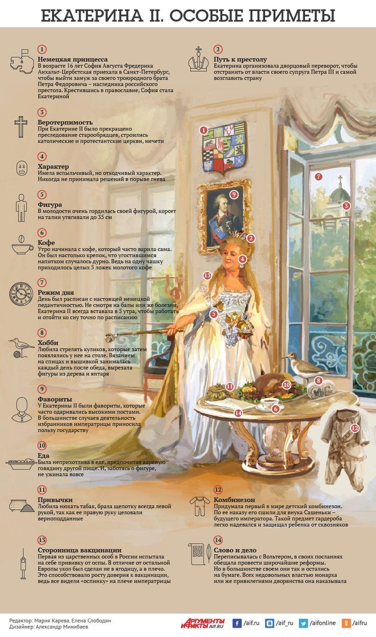 Смотрите в инфографике АиФ.ru особые приметы Екатерины II