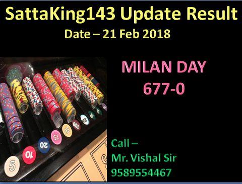 Sattaking143 #matkasatta #milanday #satta #matka Daily updates Date - 21 Feb 2018 Milan Day Result Check with online on http://sattaking143.mobi/