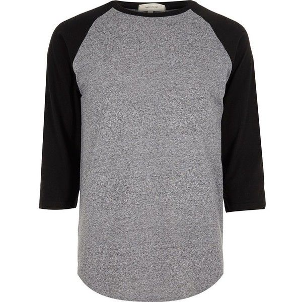 River Island Grey raglan t-shirt ($17) ❤ liked on Polyvore featuring men's fashion, men's clothing, men's shirts, men's t-shirts, shirts, men, tops, mens shirts, grey and j crew mens shirts