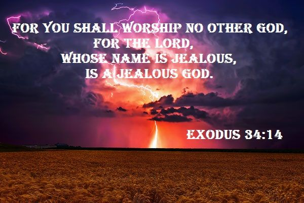 Exodus 34:14 King James Version (KJV) For thou shalt worship no other god:  for the Lord, whose name is Jealous, is a jealo… | Exodus 34, Exodus,  Treasures in heaven