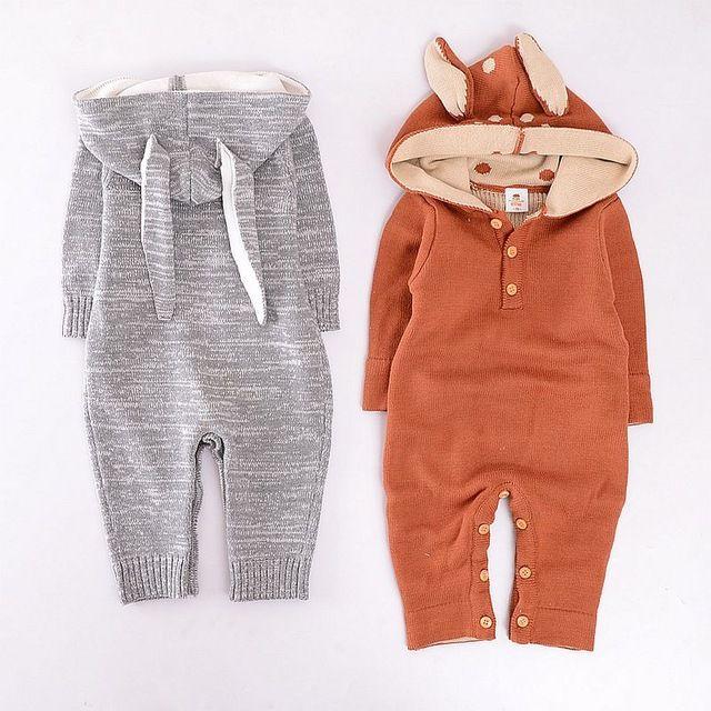 Fashion autumn winter children baby rompers 100% cotton knitted baby boy clothes baby romper elizabethans fox rabbit cartoon
