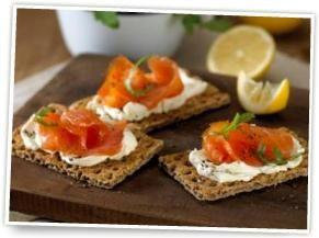 Ryvita with smoked salmon and cream cheese
