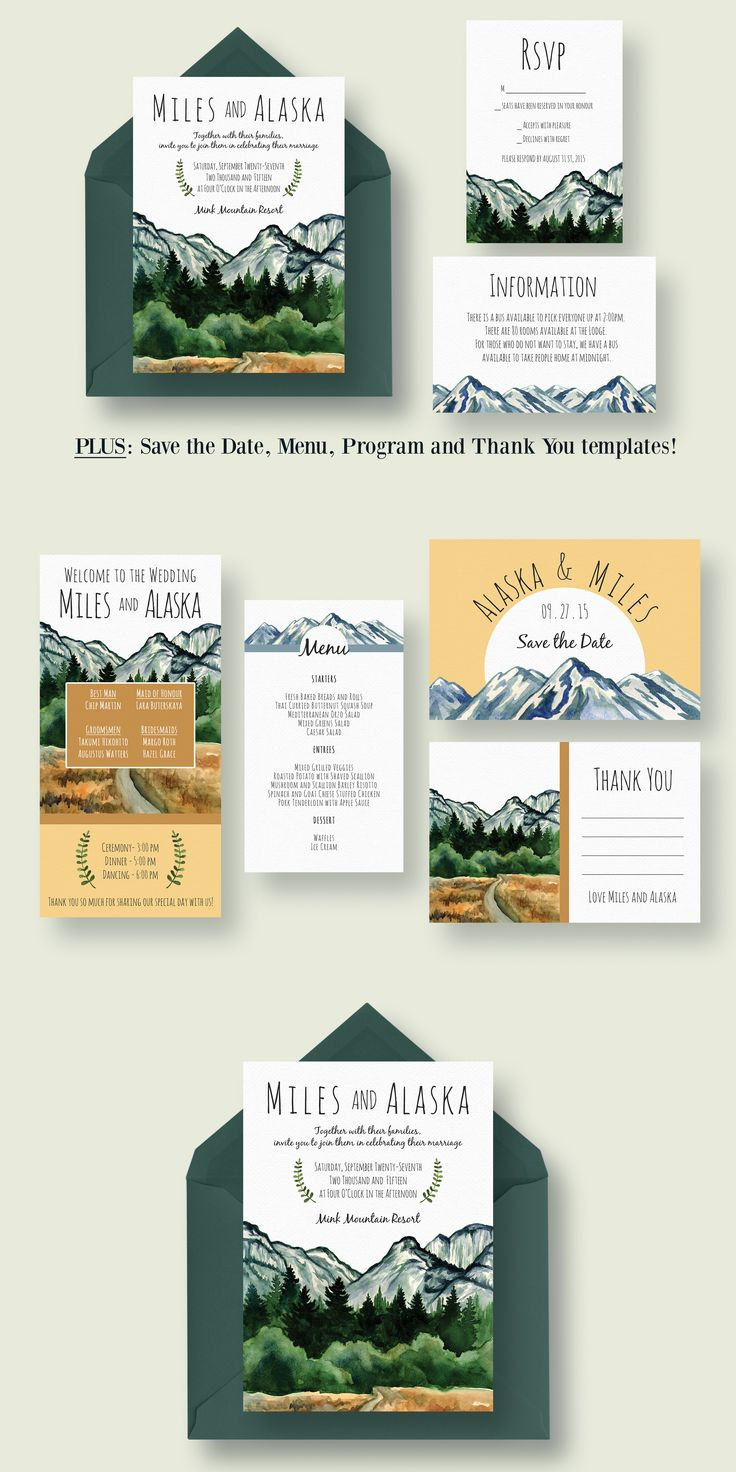 cruise wedding save the date announcement%0A Mountain Wedding Invitation Suite Template PSD  AI  design Download   https