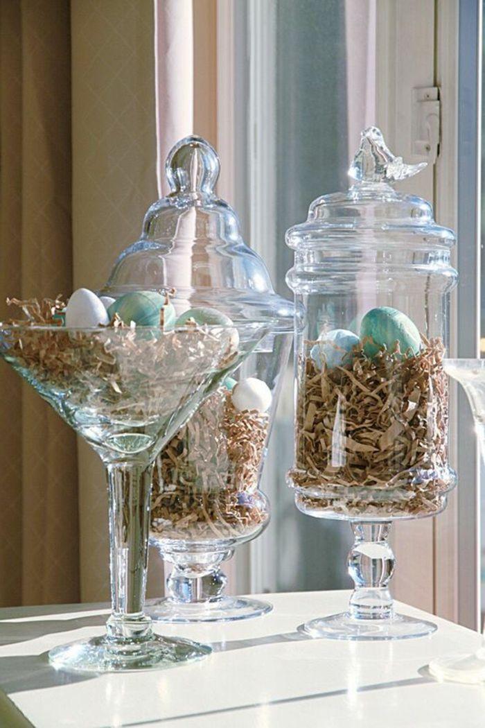 Ostern Fensterdeko Ideen mit Eiern Osternest basteln