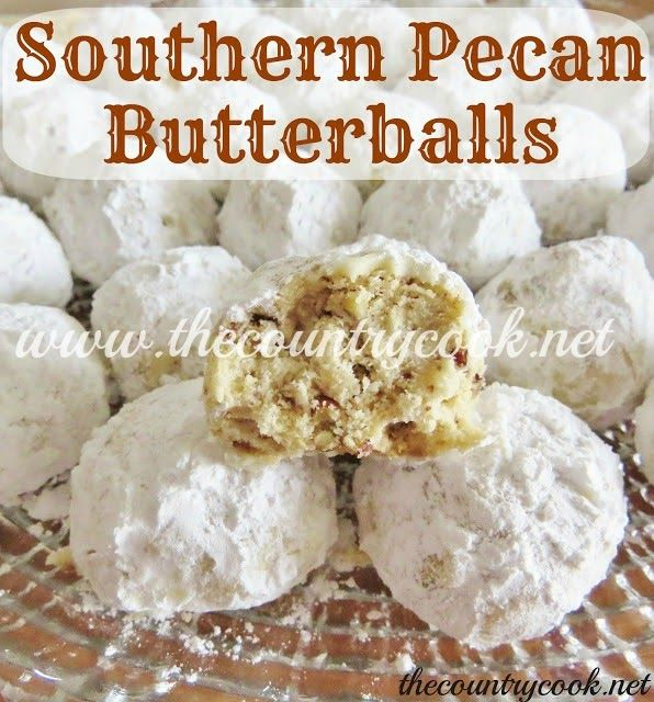 Southern Pecan Butterballs recipe from The Country Cook. Mexican Wedding Cookies, Snowballs, Russian Tea Cakes, or whatever you call these. These are just down right delicious.