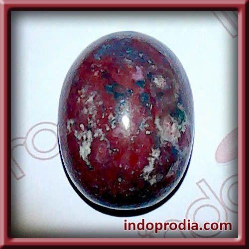 Batu Akik Pancawarna Merah Hati Corak Kembang