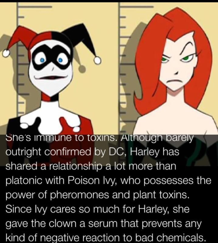 That's interesting... I didn't know that Harely was immune to toxins. Follow for more #geektent all day everyday!  She's immune to toxins. Although barely outright confirmed by DC Harley has shared a relationship a lot more than platonic with Poison Ivy who possesses the power of pheromones and plant toxins. Since Ivy cares so much for Harley she gave the clown a serum that prevents any kind of negative reaction to bad chemicals.  #harleyquinn #poisonivy #supervillain #supervillainfacts…