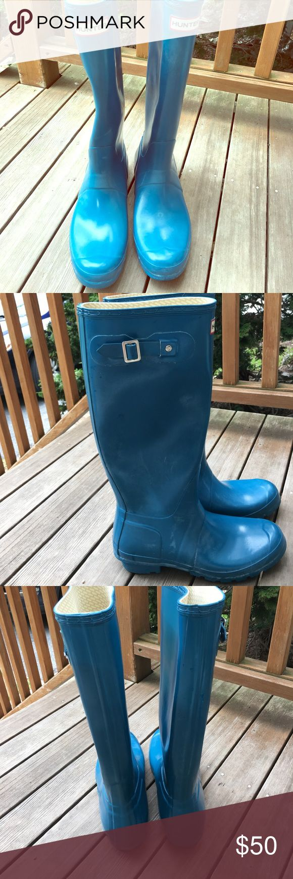 Hunter Tall Wellies Teal US 10 Women's UK 8 Hunter tall boots in excellent condition size US 10 Women's and 9 Men's, UK 8 in Teal color Hunter Boots Shoes Winter & Rain Boots