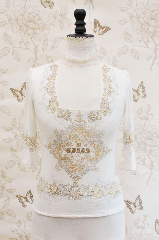 T-Shirts & Sweatshirts, haut neo victorien rayé et voile plumetis t S/M est une création orginale de thebatinthehat sur DaWanda