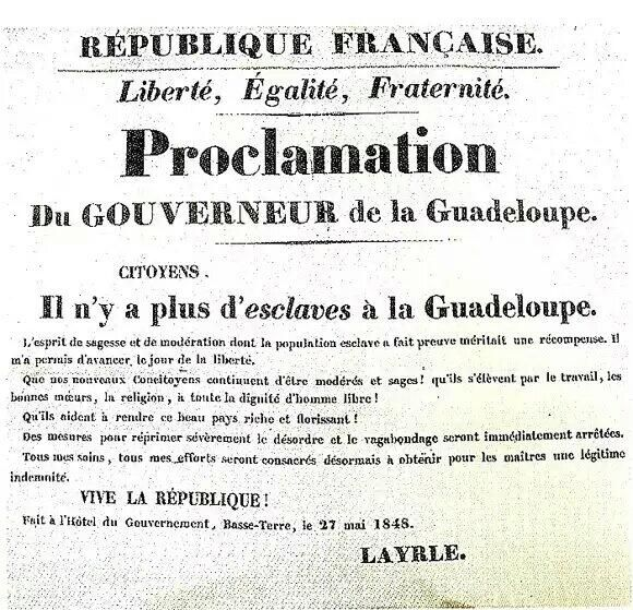 Le 27 Mai 1848 la #Guadeloupe devint libre. L'abolition de l'#esclavage fut enfin prononcée. https://plus.google.com/104688826555217098591/posts/NETYp4WupeH… pic.twitter.com/gINn07uQbf