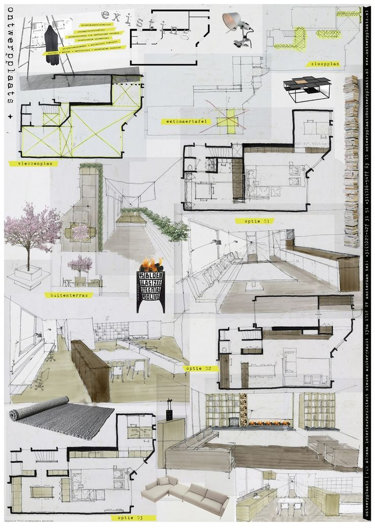 Presentation board examples of sketch boards interior - Interior design presentation layout ...