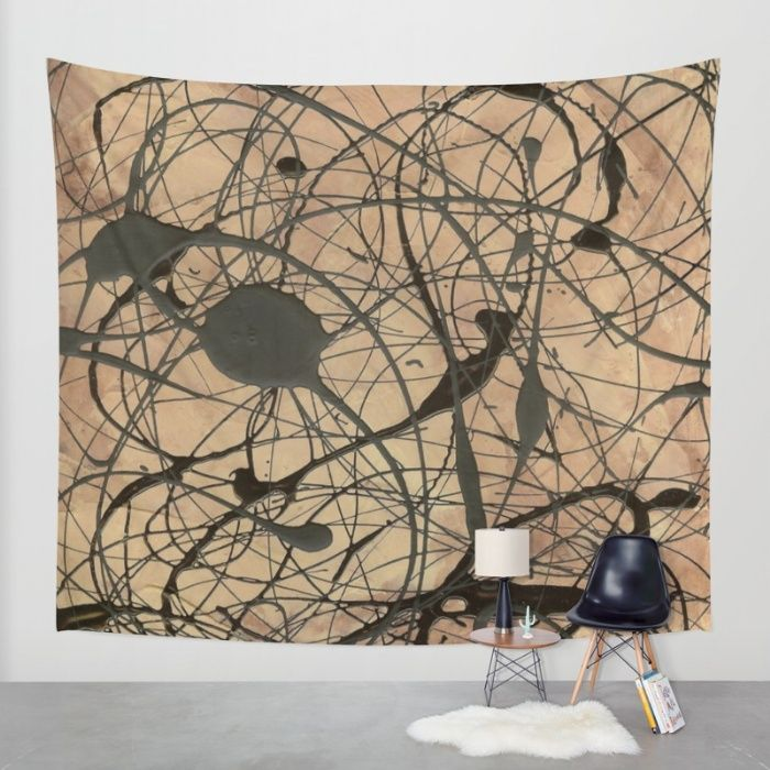 """Jackson Pollock Inspired Wall Tapestry. Pollock Inspired Abstract Black On Beige Painting by Corbin Henry. """"Small Framed Print Sets"""" """"Contemporary Prints and Posters"""" """"Framed Prints and Posters"""" """"Framed Abstract Art Print Sets"""" """"Framed Abstract Art Prints"""" """"Corbin Henry Art Print Sets"""" """"Pop Art Print Sets"""" """"Framed Pop Art Print Sets"""" Laptop Iphone and Ipad skin cases and covers sleeves. Pillows, Shower Curtains, Duvet covers. #pollockhomedecor"""