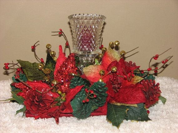 Crystal Candleholder Christmas Centerpiece by TheVineDesigns, $39.95