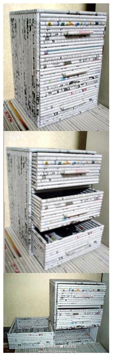 cajonera de rollitos de papel reciclado