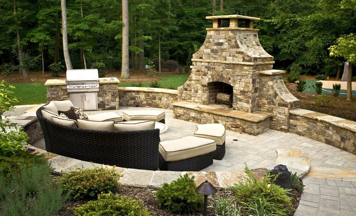 Outdoor Arched Front Fireplace
