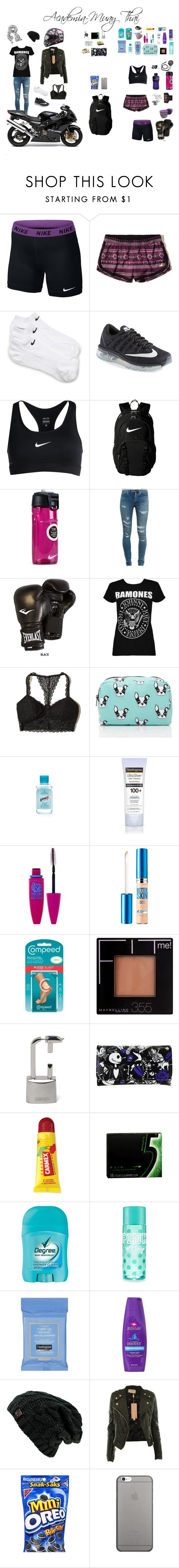 """Academia-Muay thai"" by biih-fferreira ❤ liked on Polyvore featuring NIKE, Hollister Co., Yves Saint Laurent, Everlast, Boohoo, Forever 21, Colgate, Neutrogena, Maybelline and Disney"