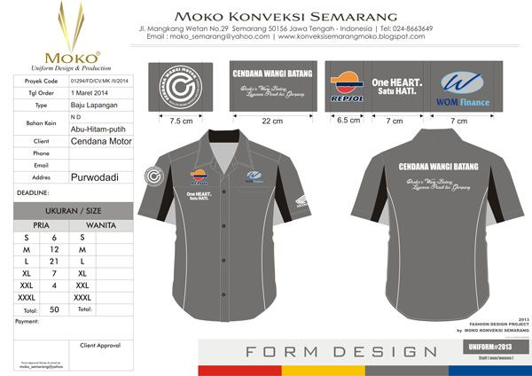 Konveksi Seragam Honda Cendana Motor - Purwodadi - Jawa Tengah - indonesia | Harga Baju Seragam Kerja Lapangan Warna Abu Abu Hitam