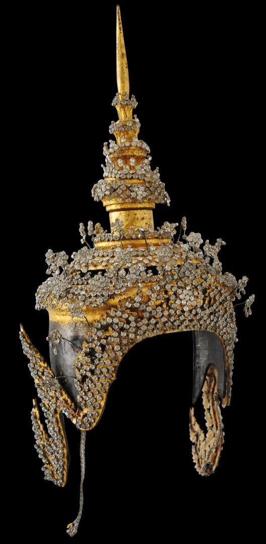 Glass, Gilt Lacquer & Silver Dancer's Headdress for SitaThailand or Cambodia ca 1920