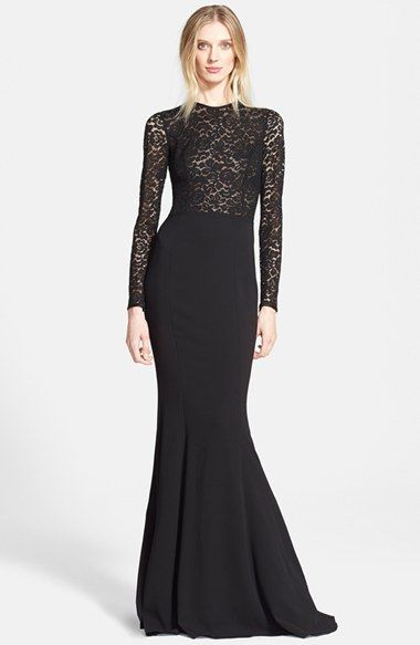 Michael Kors Illusion Lace Crepe Cady Fishtail Gown Long