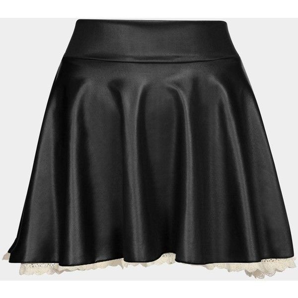 Yoins Black Leather Skater Skirt with Lace Hem (£7.80) ❤ liked on Polyvore featuring skirts, black, pleated skirt, leather skirts, knee length lace skirt, flared pleated skirt and flared skirts
