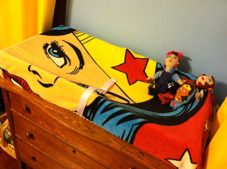 Changing Table In Blue Red And Yellow Wonder Woman