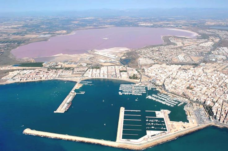 Torrevieja - Spain. The wonderful harbour with the salt lake behind it- in pink!