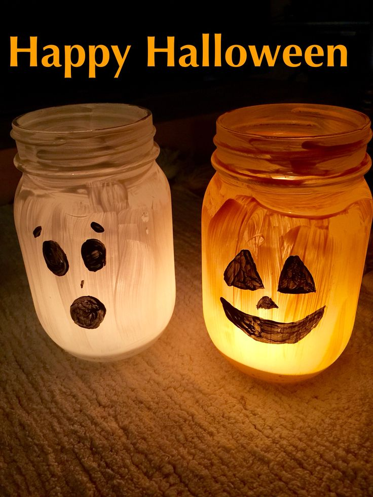 Happy Halloween! Painted Mason jar lamps. Cute and super easy to make! :)