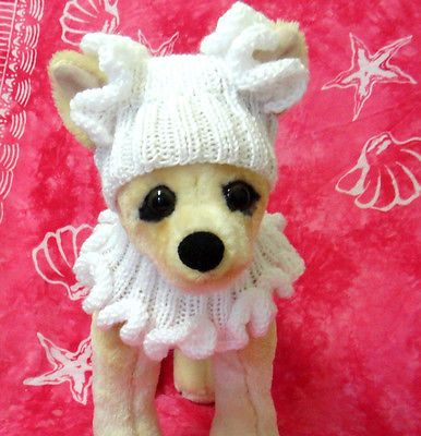 Pet Clothes  Hand-Knit Dog Hat and Fancy Scarf for Small Dogs