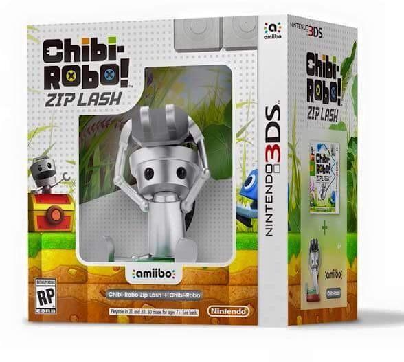 Chibi-Robo!: Zip Lash 3DS box art with Chibi-Robo Amiibo figure