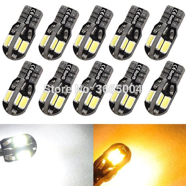 10Pcs Canbus Error Free T10 White 8 5730 SMD LED Car Side Wedge Light Lamp Bulbs