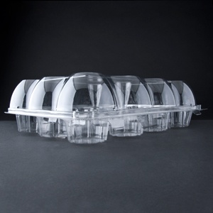 Douglas Stephen Plastics KP412 12 Compartment Hinged High Dome Clear Cupcake Container - 100 / CS