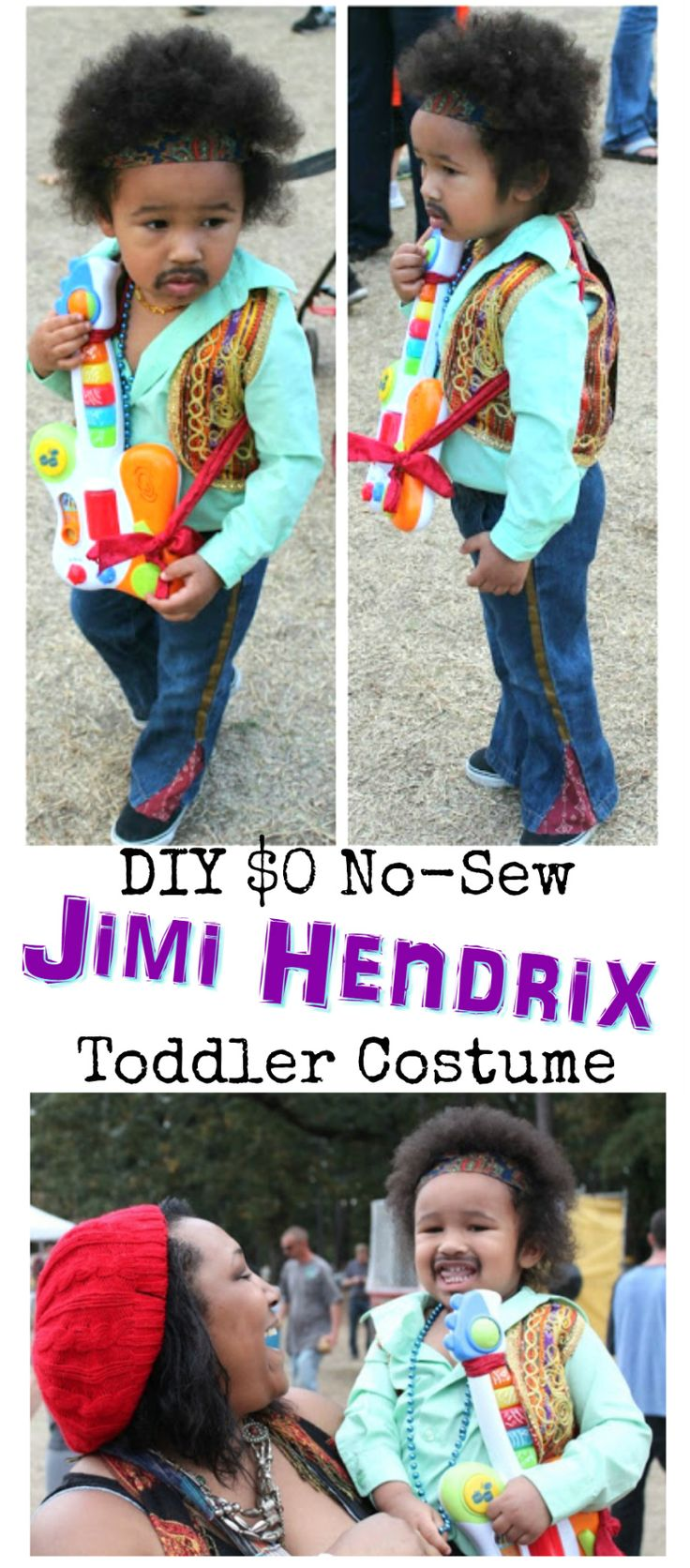 DIY $0 No-Sew Jimi Hendrix Toddler Halloween Costume