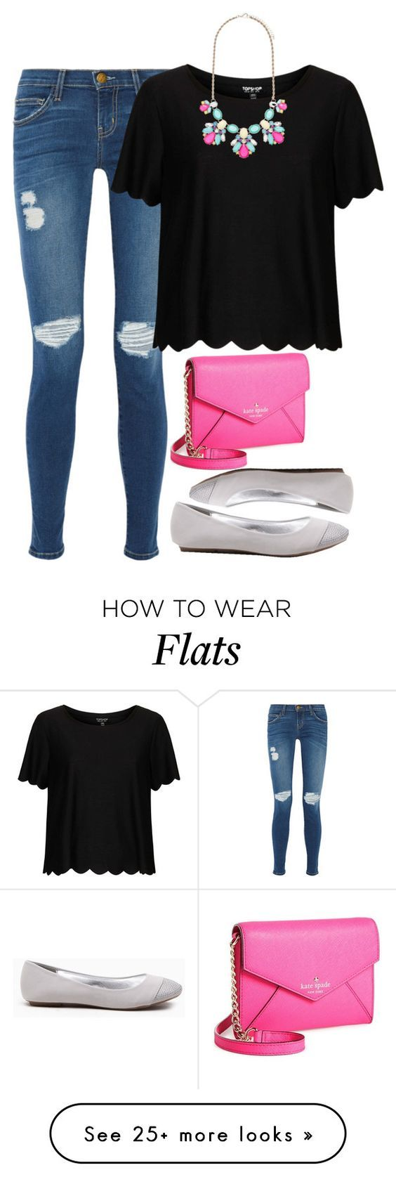 """""""Pops of pink"""" by meljordrum on Polyvore featuring Current/Elliott, Kate Spade, Topshop and Forever New"""