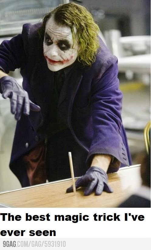 The Dark Knight - Joker performs the best magic trick ever.