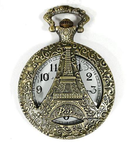 Модные карманные часы, цинковый сплав, Плоская круглая форма, плакированный цветом под старую бронзу, не содержит никель