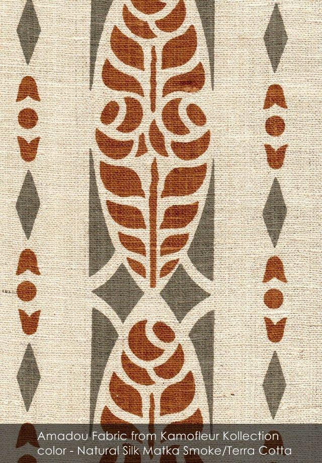 Amadou fabric from Kamofleur Kollection in Natural Silk Matka Smoke/Terra Cotta