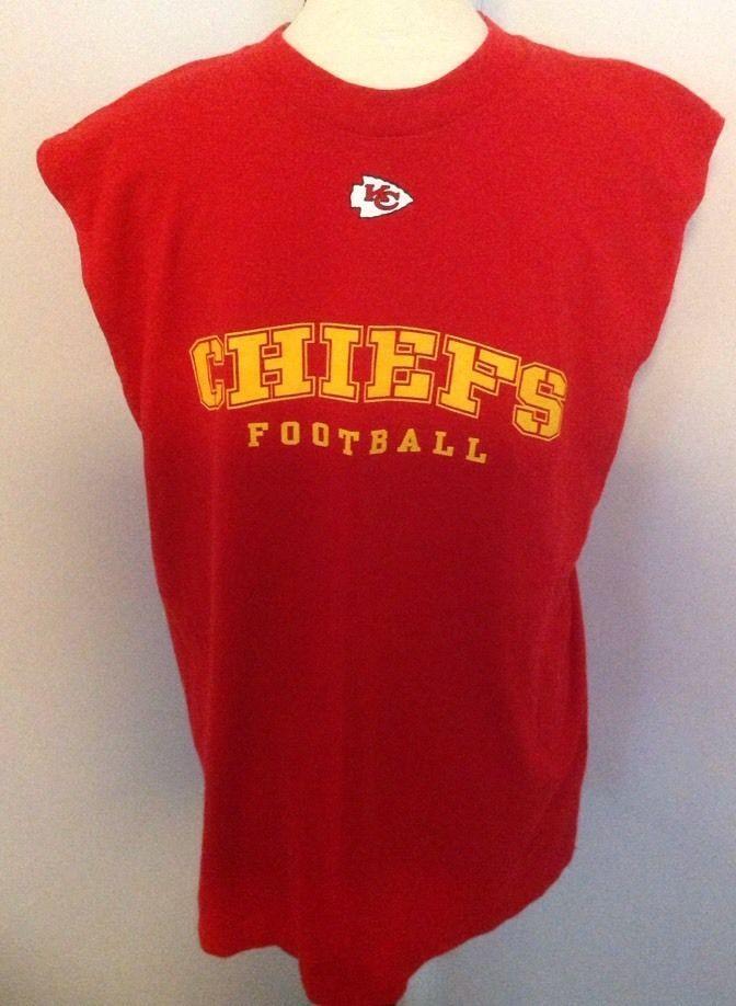 NFL Kansas City Chiefs T-Shirt Sz L Sleeveless Red Shirt Football Team Apparel