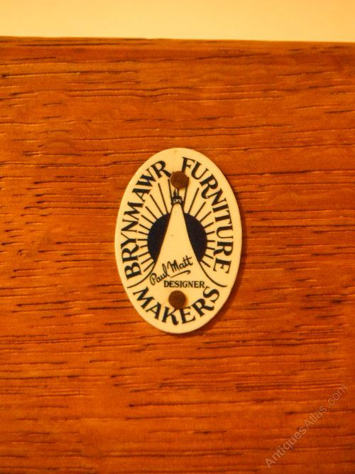 Brynmawr Furniture Company Arts & Crafts Oak Bookcase - maker's badge.